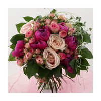 Round Bound compact bouquet with cerice & Pink peonies, pink roses, pink spray roses, kidney Reel (or Ivy) meandering around and green.