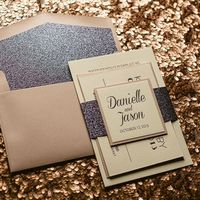 DANIELLE Suite Glitter Package, pink and grey wedding invitations, glitter wedding invitations, letterpress wedding invitations, art deco inspired wedding invitations