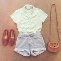 white collared short-sleeved shirt, woven flats, cuffed light denim shorts, small leather purse