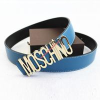 Moschino Logo Buckle Women Large Embossed Belt Blue