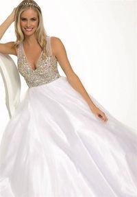Sparkly Top Jovani 23841 White V Neck Ball Gown Prom Dresses