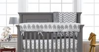 Mix and Match Gray Baby Bedding | Neutral Baby Bedding | Liz and Roo Fine Baby Bedding Natart Belmont Crib in Gray