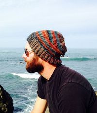 Love the colors on this hand-crocheted beanie.