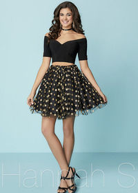 Chic Metallic Buttons Off the Shoulder Polka Dots Black Homecoming Dress
