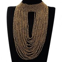 New Fashion Handmade Multilayer Seed Bead Pendant Choker Chunky Necklace Jewelry
