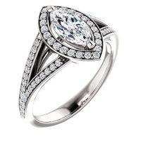 0.75 Ct Marquise Diamond Engagement Ring 14k White Gold $1769.37