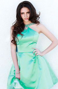 Beaded Sherri Hill 21245 Green A-Line Short Prom Gown