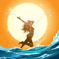 Beautiful young girl running in the sea Royalty Free Vector Clip Art