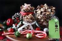 These sweet popcorn mixes are perfect for snacking or giving away as a Christmas-inspired edible gift.