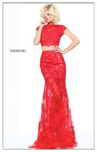 Unique Sherri Hill Two Piece Beads Lace Long Prom Dress Red 51013
