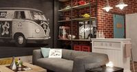 "The basement room has a cool, grungy and slightly kitsch style�€""complete with a bar�€""that rings perfect for a man-den."