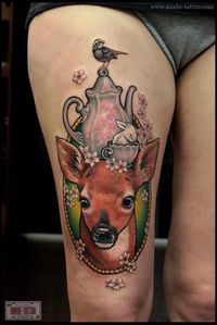 Deer and bird Tattoo Deer tattoos are loved by people for many of their symbolic meanings carried by the soft and humble animal. Dear tattoos may not present th