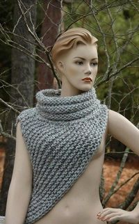 My hand knit take on the Katniss cowl as seen in the the movie Knit using a super chunky yarn in gray marble lambs wool for warmth and acrylic for