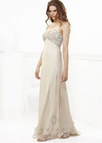 Champagne Sequin Top Long Prom Dress Faviana 7103