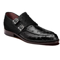 Johny Weber Handmade Black Double Monk Strap Ostrich Leather Shoes