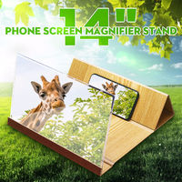 "14"" Wood 3D HD Phone Screen Magnifier Video Movie Amplifier For Smart Phone iPhone Samsung Huawei Xiaomi"