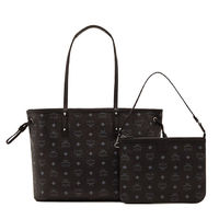 MCM Medium Reversible Visetos Cosmo Shopper Tote In Black