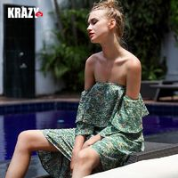 Strapless Asymmetrical Printed Trail Dress Holiday Frilled Dress - Bonny YZOZO Boutique Store