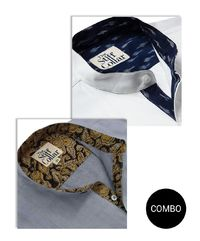 WHITE SATIN IKKAT AND GREY CHAMBRAY KALAMKARI MANDARIN COLLAR SHIRT COMBO �'�2599.00