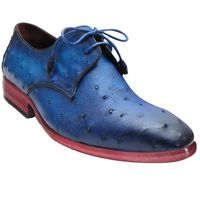 Johny Weber Handmade Oxfords In Blue Ostrich Leather