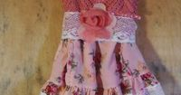 Floral lace tunic hand made by vintage opulence on Etsy Cute little tunic top of pink crochet with lining, adjustable shoulder straps and lace sash Skirted hem of ruffled floral cotton in pinks and cream, trimmed with white vintage lace Finished with a ha...