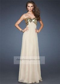 Nude Gold Long Chiffon Sequin Prom Dress 2014