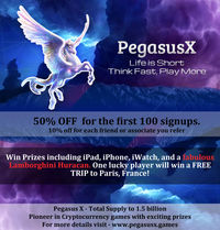 pegasus-infographics (1).jpg  1st Cryptocurrency Games to Provide big prizes and high winning.  50% off for the first 100 signups 10% off for each friend or associate you refer Win prizes including iPad, iPhone, iWatch, and a fabulou...
