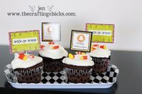 Check out these Pumpkin Decor and Halloween Cupcake Toppers! I saw this idea in a Pottery Barn catalog. I had to do it. So simple. So classy.