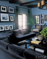 I'm dying over the grey velvet couches and muted blue walls! So masculine, chic. Elle Decor via GreigeDesign.blogspot.com
