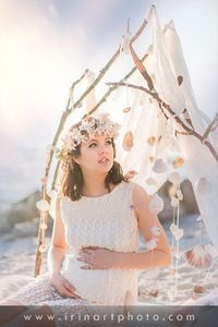 Teepee, lace, branches, shells, ocean, Florida, Venice beach, maternity photoshoot, lace dress, flowers, sunset, irinart photography
