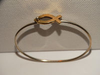 James Avery Sterling Silver/14k Yellow Gold Ichthus Bangle Bracelet. $272.75