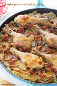 Tender chicken drumsticks cooked on top of layers of thin sliced potatoes and onions make this potatoes and chicken skillet an mouthwatering, flavorful meal