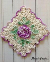 Flower Embellished Vintage Crochet Potholders