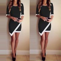 Asymmetric Patchwork Half Sleeve <Bodycon Pencil Short Dress �'�5278.90