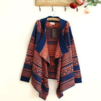 BOHEMIA COOL GEOMETRIC FIGURE PRINT LAPEL IRREGULAR CARDIGAN