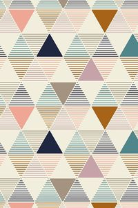 Modern Geometric pattern in pale pink, turquoise, navy, and taupe by lemonni. This modern design in vintage colors adds a bold look to any boring wall! Available in fabric, gift wrap, and wallpaper.