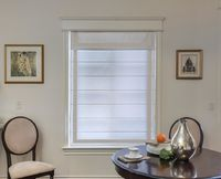 Faux Linen Grey Border Roman Shades With Valance $97.00