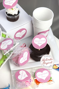 Personalized Valentine Cupcake Topper Kit Pink Heart Themed / First Birthday Dessert Table Decor / Valentines Day Class Treats $13.56