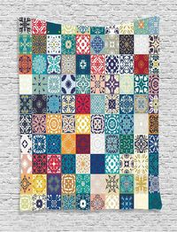 Moroccan Tapestry Floral Patchwork Decoration $71.00