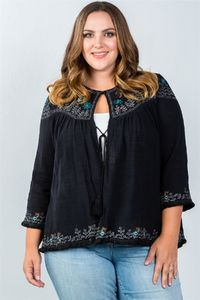 Ladies fashion plus size embroidery flower tassel cardigan $22.01