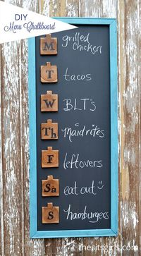 Add a touch of fun to your home decor with this DIY menu board. It is an easy project that will help you get organized for weekly menu planning.