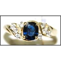 18K Yellow Gold Diamond Oval Solitaire Blue Sapphire Ring [RS0108]