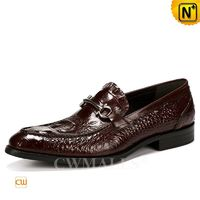 Men Leather Shoes | CWMALLS® Canberra Embossed Leather Horsebit Loafers CW719023 [Free Shipping]