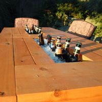 DIY: patio table with built in cooler! Choose when you want to use the coolers with lids to cover them!