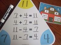 Here's a huge set of printables for practicing fact families. These are self-correcting, fact family flash-cards.