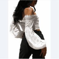 Boho Women Crop Top Off Shoulder Crochet Lace Bandage Lace Up Hollow Out Solid Holiday Wear White $47.28 zhif.myshopify.com