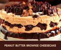 This is a no-bake peanut butter brownie cheesecake topped off with peanut butter cups and chunks of brownie.