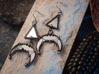 Crescent Moon Earrings with hypoallergenic Earring Hooks, mirror glass, Witchy Earrings, Festival juwelry, Boho Style, half moon mirror $28.00