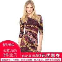 Vogue Sexy Printed Solid Color Slimming Curvy Sheath Scoop Neck 3/4 Sleeves Dress - Bonny YZOZO Boutique Store