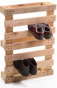 Sometimes a good DIY project simply means standing a shipping pallet up on its end. Voila! A shoe rack...